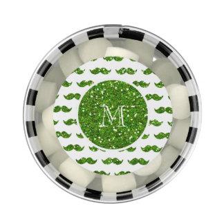 Green Glitter Mustache Pattern Your Monogram Chewing Gum Favors