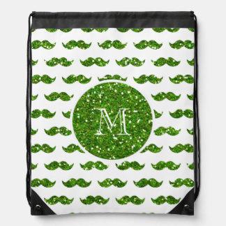 Green Glitter Mustache Pattern Your Monogram Drawstring Bag