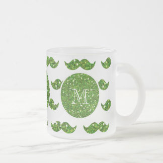 Green Glitter Mustache Pattern Your Monogram Frosted Glass Coffee Mug