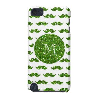 Green Glitter Mustache Pattern Your Monogram iPod Touch (5th Generation) Case