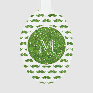 Green Glitter Mustache Pattern Your Monogram Ornament