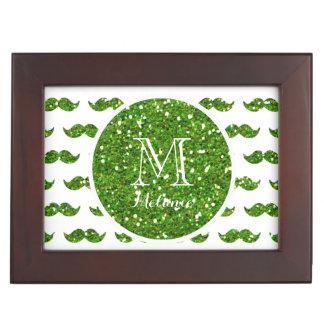 Green Glitter Mustache Pattern Your Monogram Memory Boxes