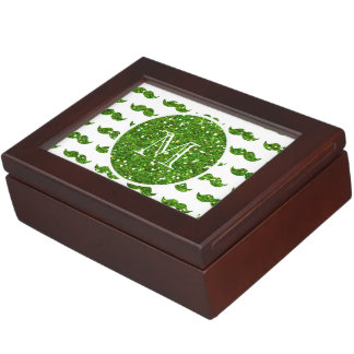 Green Glitter Mustache Pattern Your Monogram Keepsake Boxes