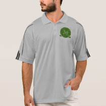 Green Glitter Mustache Pattern Your Monogram Polo Shirt