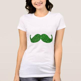Green Glitter Mustache T-Shirt