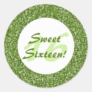 Green Glitter Pattern Look-like Sweet Sixteen Classic Round Sticker