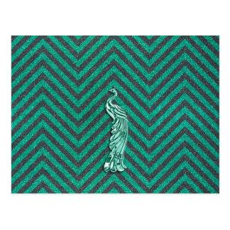 Green Glitter Peacock Postcard