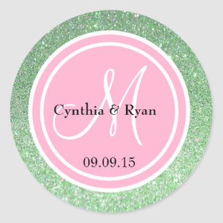 Green Glitter & Pink Wedding Monogram Classic Round Sticker