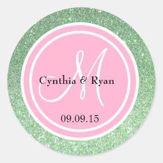 Green Glitter & Pink Wedding Monogram Classic Round Sticker