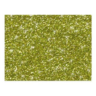 Green Glitter Printed Postcard