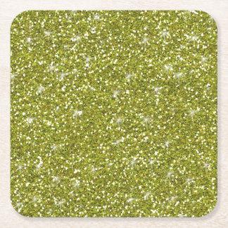 Green Glitter Printed Square Paper Coaster