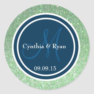 Green Glitter & Prussian Blue Wedding Monogram Classic Round Sticker