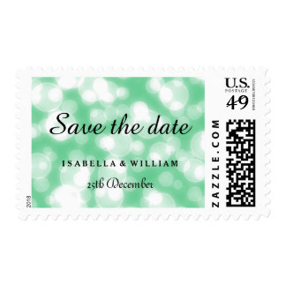Green Glitter Save the Date Postage