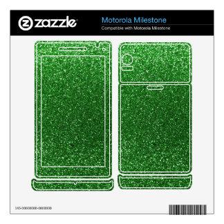 Green glitter motorola milestone skins