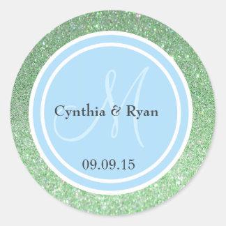 Green Glitter & Sky Blue Wedding Monogram Classic Round Sticker