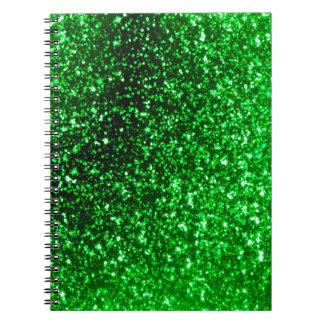 Green Glitter Spiral Notebook