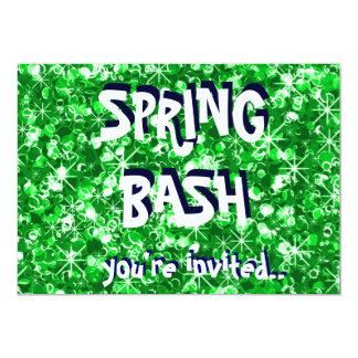 Green glitter Spring party invitation