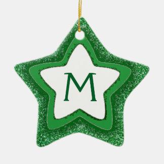 Green glitter star customizable monogram ornament
