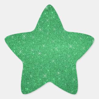 Green glitter stars star sticker