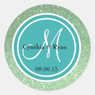 Green Glitter & Teal Blue Wedding Monogram Classic Round Sticker