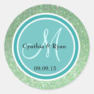 Green Glitter & Teal Green Wedding Monogram Classic Round Sticker