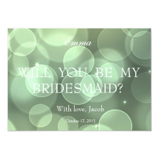 Green Glitter Will You Be My Bridesmaid Card