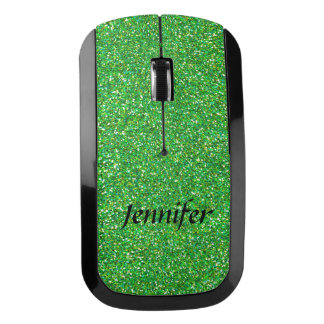 Green Glitter Wireless Computer Mouse