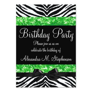 Green Glitter Zebra Bow Custom Girl Birthday Party Card