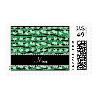 Green glitter zebra stripes birthday cake balloon postage