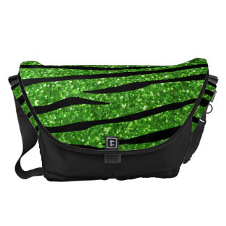 Green glitter zebra stripes courier bags