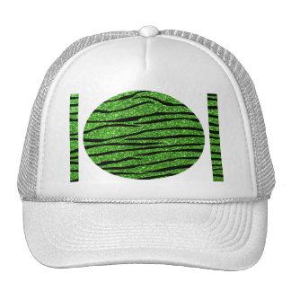 Green glitter zebra stripes mesh hats