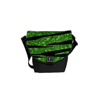 Green glitter zebra stripes messenger bags