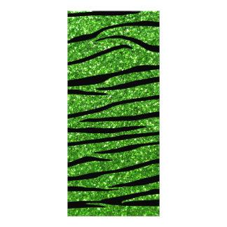 Green glitter zebra stripes custom rack cards