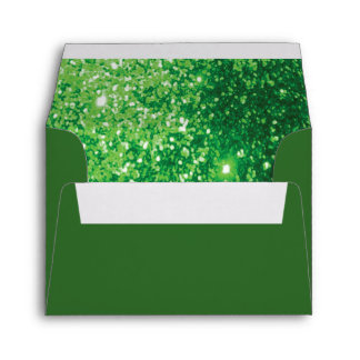 Green Glittery Lined Inside Envelope