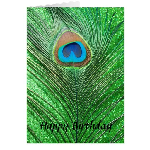 Green Glittery Peacock Feather Still Life Greeting Card