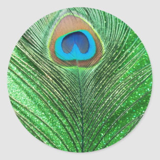Green Glittery Peacock Feather Still Life Classic Round Sticker