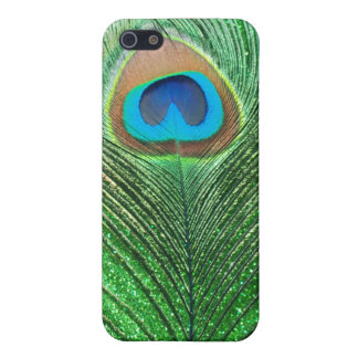 Green Glittery Peacock Feather Still Life iPhone SE/5/5s Cover