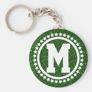 Green Glitz Super Star Monogrammed Keychain