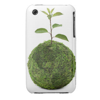 Green globe and seedling showing conservation iPhone 3 case