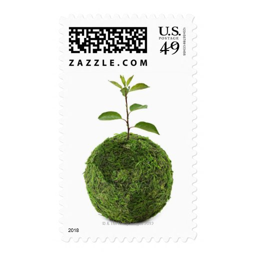 Green globe and seedling showing conservation postage stamp