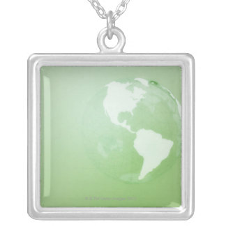 Green Globe Silver Plated Necklace