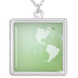 Green Globe Square Pendant Necklace