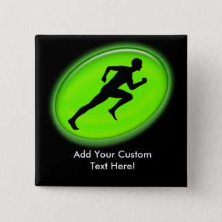 Green Glow Fitness Logo Pinback Button