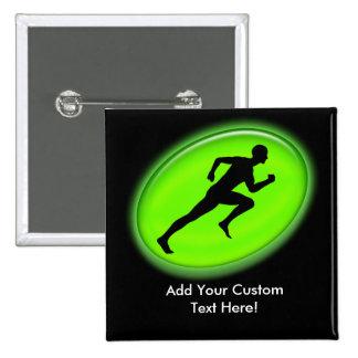 Green Glow Fitness Logo Pinback Button