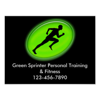 Green Glow Fitness Logo Poster
