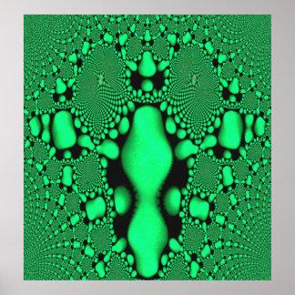 Green Glow Fractal Art Poster