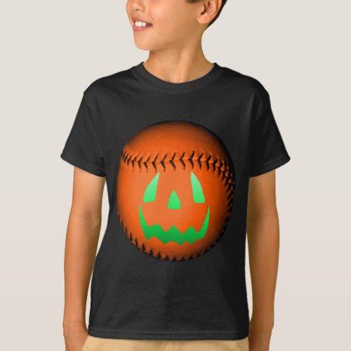Green Glow Jack O Lantern Baseball T_Shirt