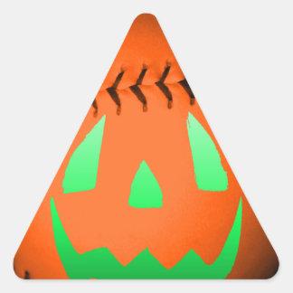 Green Glow Jack O' Lantern Baseball Triangle Sticker