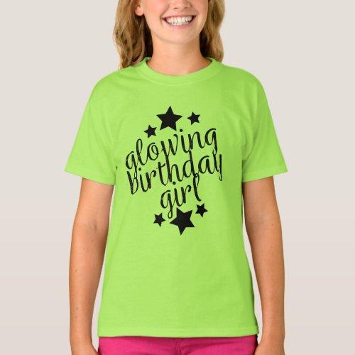 Green Glow Party Birthday _  Girls Ruffle T_Shirt