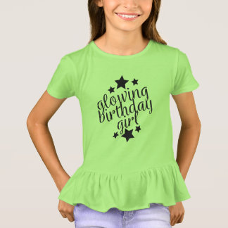 Green Glow Party Birthday -  Girls Ruffle T-Shirt